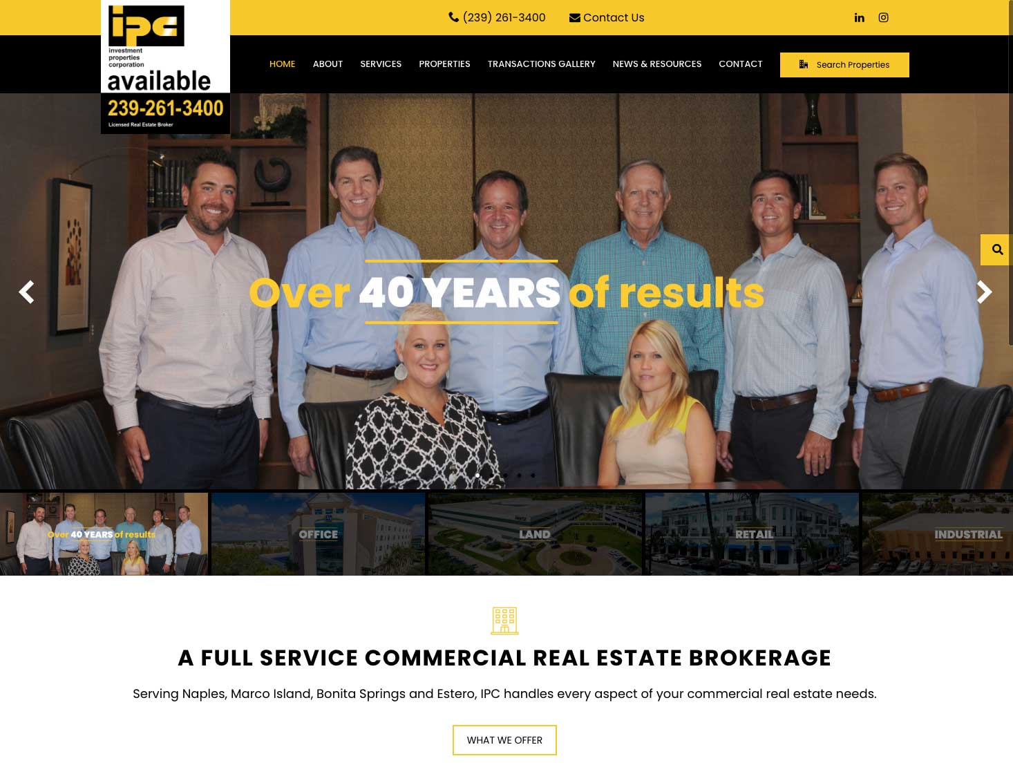 Wilson Creative Group Launches New Website for Investment Properties Corp. of Naples